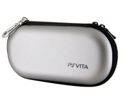 Жесткий Защитный Чехол PS Vita / Protective PU Leather Carrying Pouch w/ Carabiner Clip for PS Vita - Silver